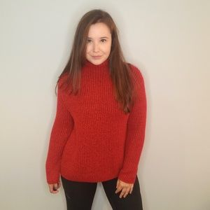 George Fluffy Red Turtle Neck Sweater Size XS